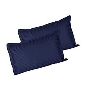 Ahmedabad Cotton Luxurious Striped 2 Piece Sateen Pillow Cover Set
