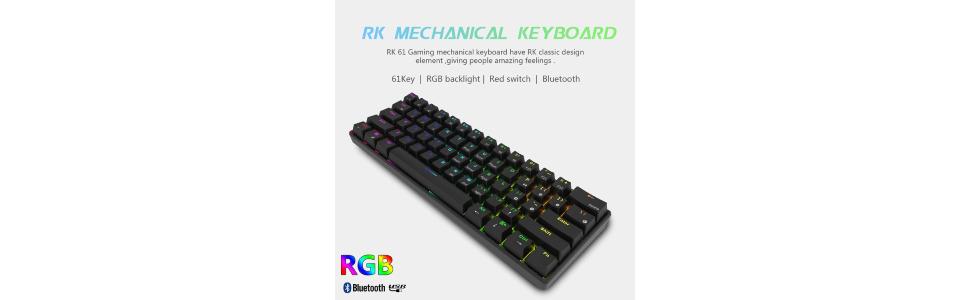 RK ROYAL KLUDGE RK61 wireless 60% Mechanical Gaming Keyboard RGB Backlit Ultra-Compact Keyboar