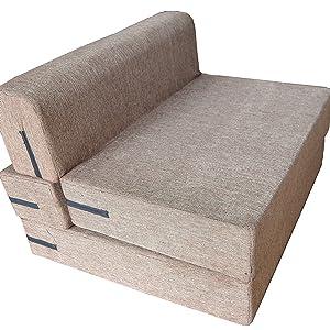 Loop Linens Jute Fabric Sofa Bed 36x73x7 Inch Brown Amazon In