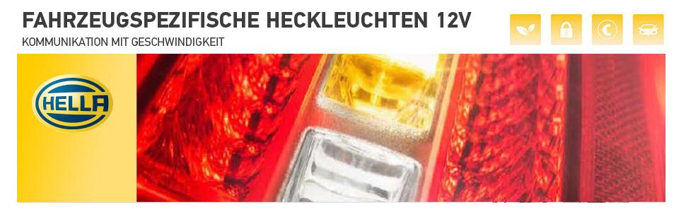 mit Lampentr/äger HELLA 2VA 354 666-011 Heckleuchte Gl/ühlampen-Technologie 12V links