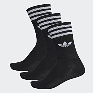 Adidas Solid Crew, Calcetines Unisex Adulto, negro / blanco, 27/30 ...