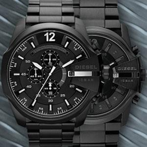 Diesel Mega Chief Men'S Silver Dial Leather Band Chronograph Watch
