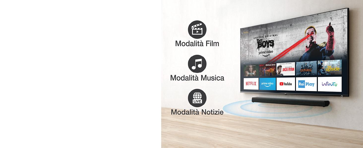 MODALITÀ AUDIO APPOSITE PER ASCOLTARE AL MEGLIO MUSICA, NOTIZIARI E FILM