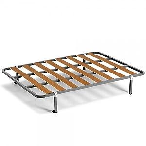 HOGAR24 ES Somier Basic + 4 Patas Cuadradas de 26cm, 135x190 cm