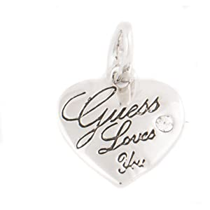 Guess Necklace and Charm Heart Shaped Pendant Set For Women, Silver Plated, Red - UBS91010