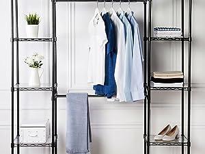 Amazon Basics closet organizing system with hanging rods and shelves