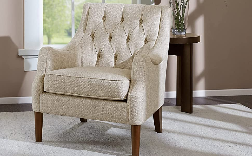 Madison Park Qwen Accent Chairs Hardwood Birch Faux Linen Living Room Chairs Cream Ivory Vintage Classic Style Living Room Sofa Furniture 1 Piece Diamond Tufted Bedroom Chairs Seats