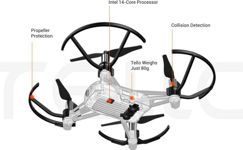 DJI Tello Quadcopter Drone Camera 4K Resolution, White