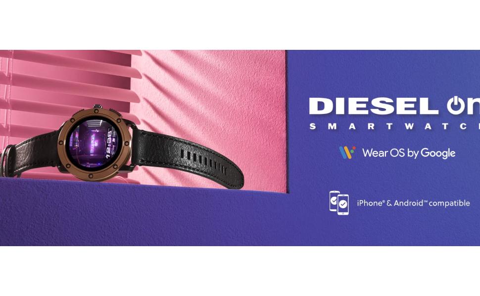 Diesel Axial Men's Multicolor Dial Leather Digital Smartwatch