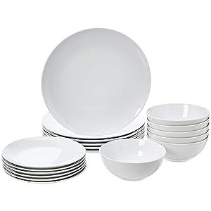 AmazonBasics - Vajilla de 18 piezas, Porcelana blanca lisa ...