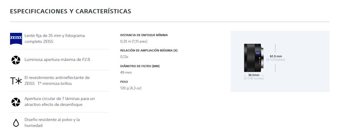 Sony SEL35F28Z - Objetivo para Sony E (Distancia Focal Fija 35mm, Apertura f/2.8-22, estabilizador) Negro: Amazon.es: Electrónica