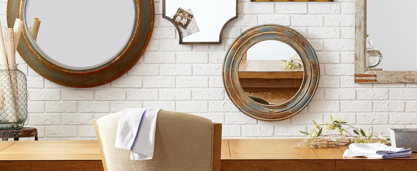 Mirrors, metal, wood, rustic, round, square, hanging, full length mirror, brass, antique, barn door