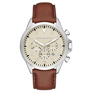Michael Kors Gage Watch for Men - Analog Leather Band