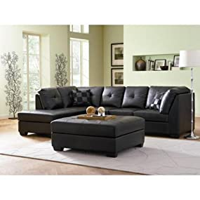 Amazoncom Contemporary Black Leather Sectional Sofa Left Side