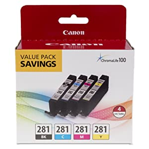 Canon CLI-281 Black, Cyan, Magenta and Yellow 4 Ink Pac