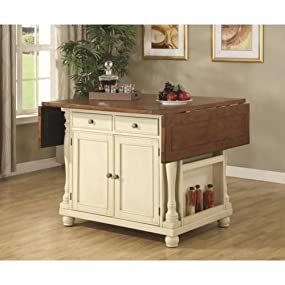 Merveilleux Kitchen Island In Buttermilk Cherry Finish