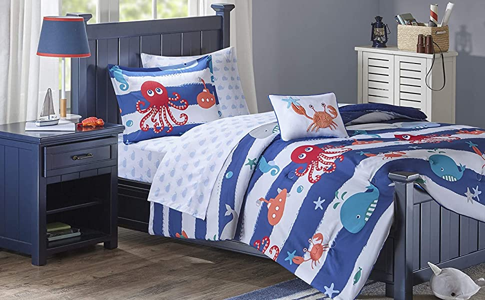 4 Piece Bedding Set for Girls Boys Children Adult Marine Life Abstract Jellyfish Design Duvet Cover Set Ultra Soft and Easy Care Sheet Quilt Sets with Decorative Pillow Covers Twin