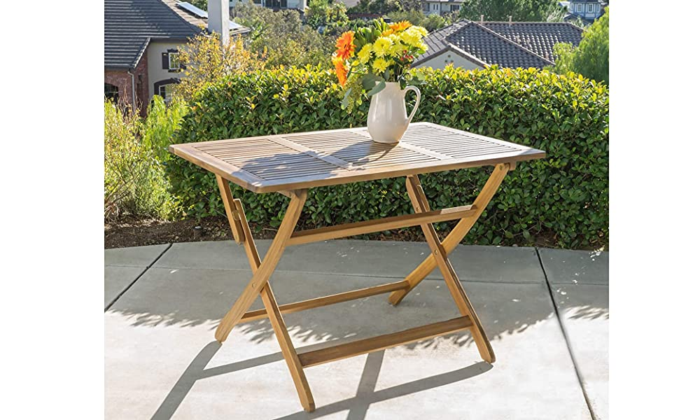 Amazon Com Christopher Knight Home Positano Outdoor Acacia Wood Foldable Dining Table Natural Stained Garden Outdoor