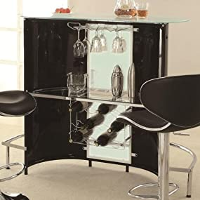 Amazon.com: Coaster Contemporary Black/White Bar Unit with Frosted ...