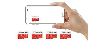 Samsung EVO Plus - Tarjeta de Memoria microSD de 256 GB con Adaptador SD, 100 MB/s, U3, Color Rojo y Blanco