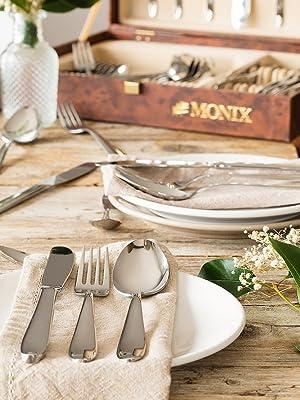 Monix Manila - Set 75 piezas cubiertos de acero inox 18/10 con cuchillo chuletero y estuche Nogal (12 comensales)