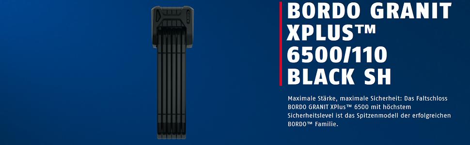 ABUS Bordo Granit X Plus 6505 Faltschloss Fahrrad Schloss 85 CM Schwarz MTB
