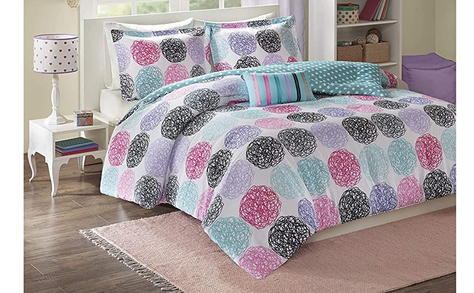 Amazon Com Mi Zone Carly Comforter Set Full Queen Size Teal Purple Doodled Circles Polka Dots 4 Piece Bed Sets Ultra Soft Microfiber Teen Bedding For Girls Bedroom Home Kitchen