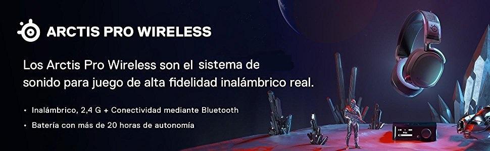 SteelSeries Arctis Pro Wireless, Auriculares de juego, Bluetooth