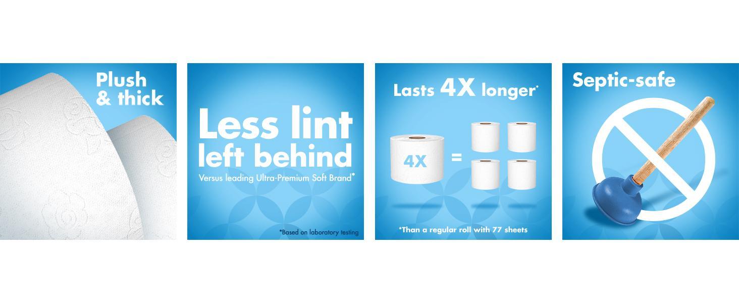 Marca Amazon Presto Papel Higiénico Mega Roll De 308 Hojas Ultra Suave 6 Mega Rolls Paquetes De 4 Health Personal Care
