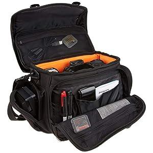 AmazonBasics Large DSLR Gadget Bag With Orange interior - Black