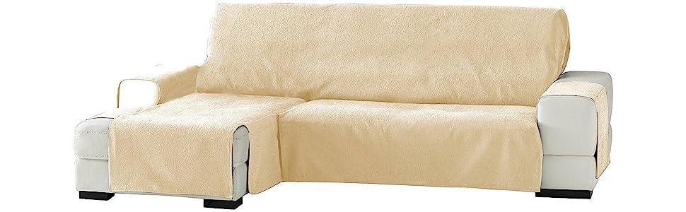 Eysa Zoco - Funda para chaise longue, izquierda, vista frontal, 240 cm, Blanco