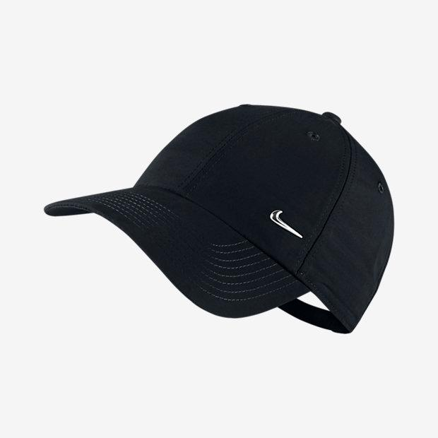 Nike Men Metal Swoosh Logo Cap - Black Metallic Silver 057bc5e76272
