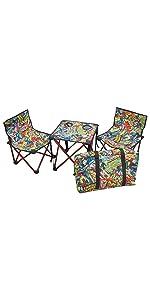 キャプテンスタッグ キャンプ用品 椅子 チェア 机 テーブル マーベル コンパクト テーブル チェア セット コミック 収納袋付き