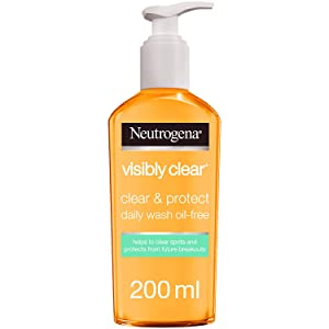 Neutrogena Face Wash, Visibly Clear, Clear & Protect, Oil-free