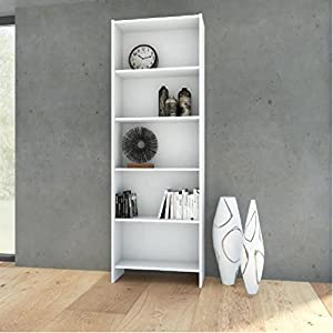 TVilum Section Wooden Bookcase with 5 Shelves, White