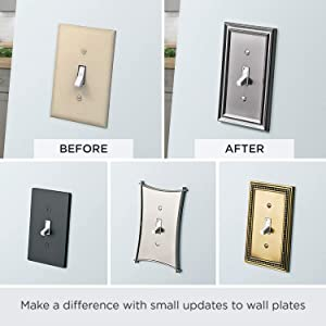 Architectural Single Toggle Switch Wall Plate Switch Plate Cover Flat Black Packaging May Vary Black Light Switch Amazon Com