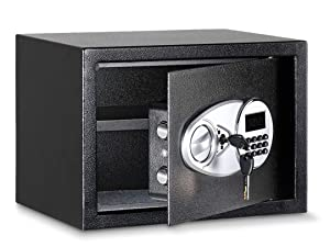 Amazon Basics compact steel security safe with programmable lock and override keys