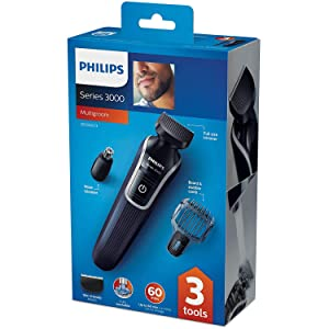 Philips QG3322 Multigroom Series 3000 3-in-1 Beard with 1 Comb, Nose Trimmer, Cordless