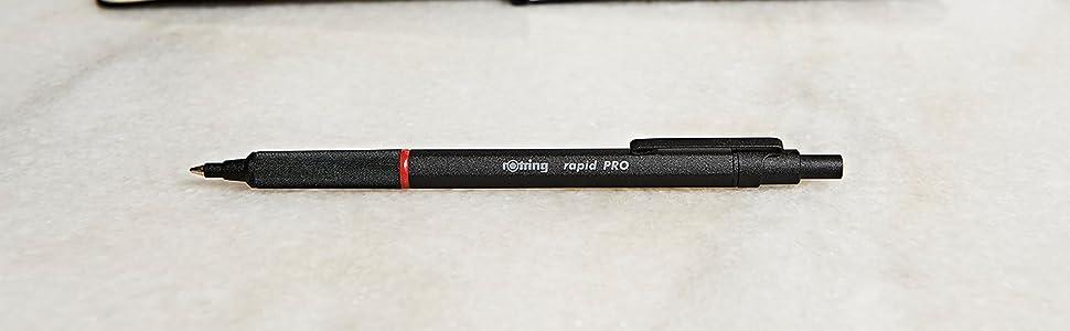 rotring Druckkugelschreiber schwarz Mine blau gummiert Schreibwerkzeug Stift