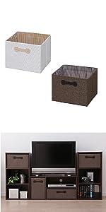 アイリスオーヤマ ボックス インナーボックス 幅33.6×奥行26.8×高さ22cm ブラウン FIB-M33