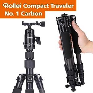 Rollei Compact Traveler No I Carbon I Negro I Trípode de Viaje ...