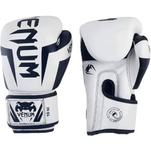 Venum Elite Boxing Gloves, 10 oz - White and Black