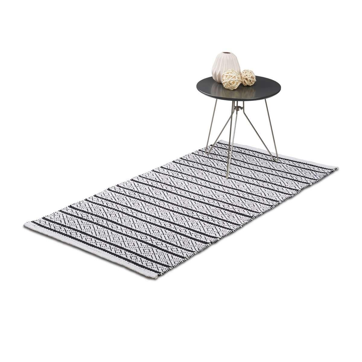 Relaxdays Teppich Läufer Flur 70x140 cm, Baumwolle, Handarbeit ...