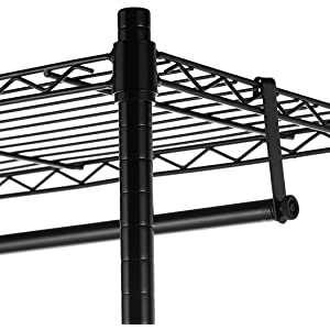 AmazonBasics Double Hanging Rod Garment Rolling Closet Organizer Rack, Black