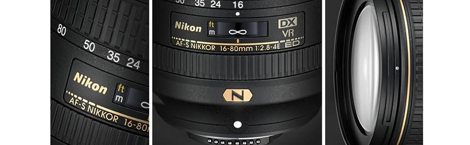 Nikon Nikkor AF-S DX f2 8-4E ED VR Lens, Black, 16/80 mm (JAA825DA)