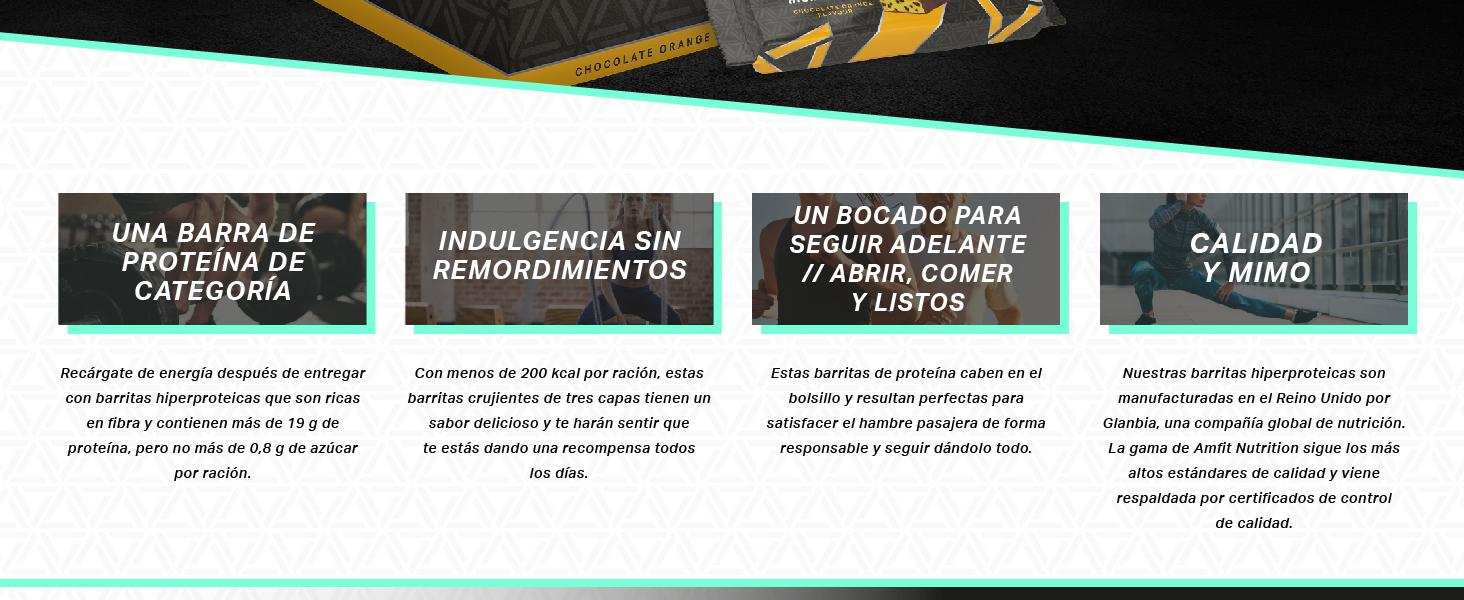 Marca Amazon - Amfit Nutrition Barrita de proteína baja en azúcar (19,8gr proteina - 2.1gr azúcar) - chocolate y naranja - Pack de 12 (12x60g)
