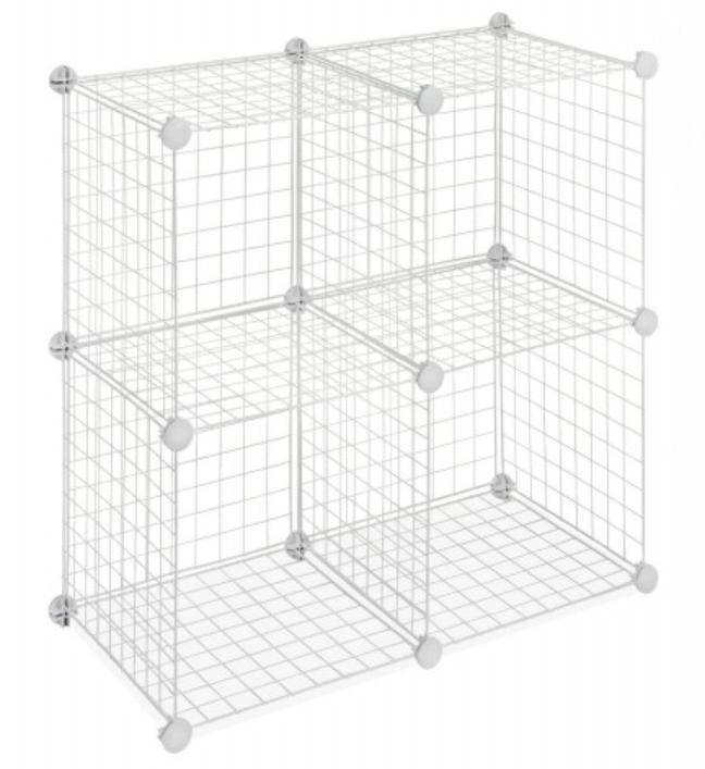 Whitmor Storage Cubes Set Of 4 White Wire