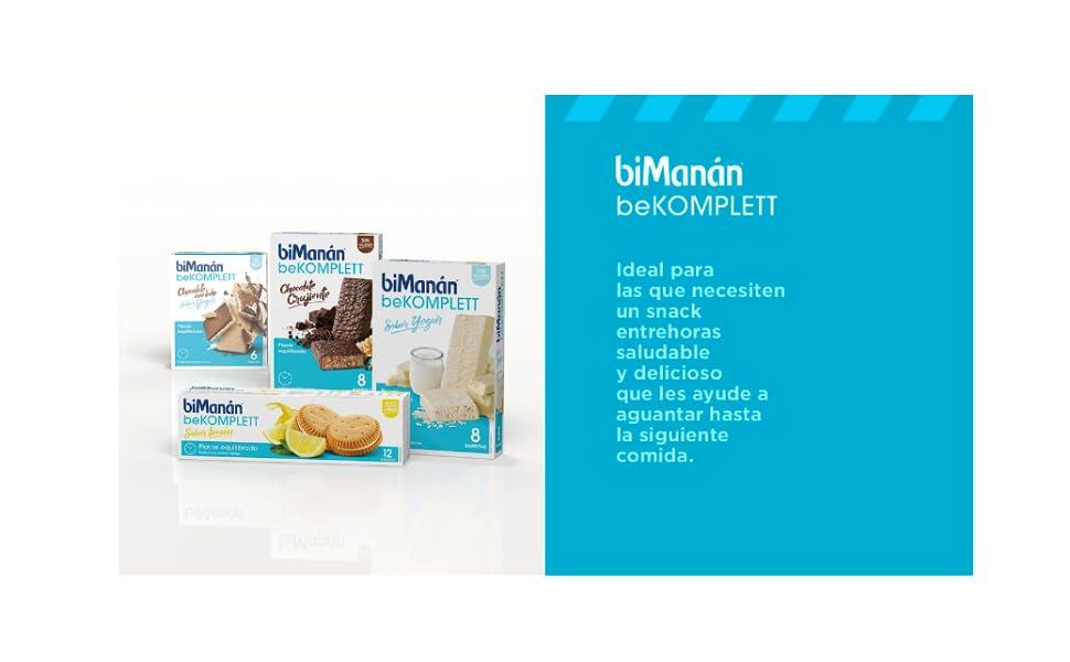biManán beKOMPLETT Barritas sabor Yogur. Ricas en proteínas y fuente de fibra, con 12 vitaminas y 10 minerales. Sin gluten - Caja de 8 unidades