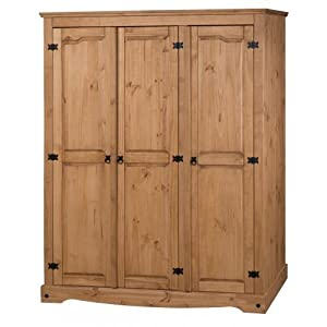 Corona 3 Door Flat Top Wardrobe In Solid Pine With Ply Board Back The Range Of Furniture Will Look Stunning Any Bedroom