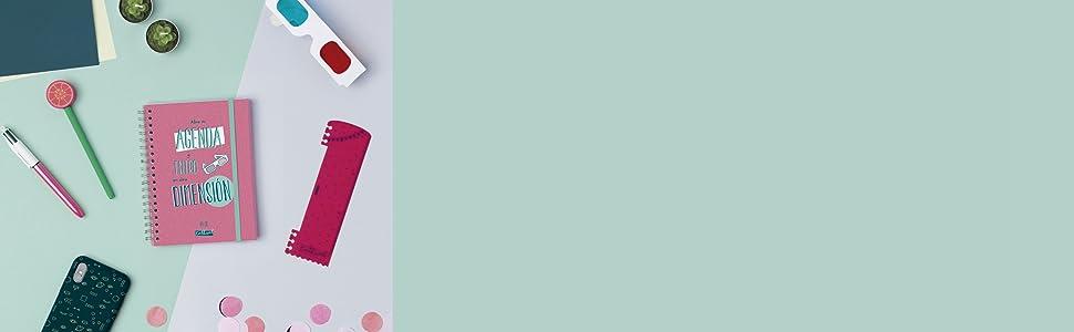 Finocam - Agenda 2019-2020 semana vista apaisada formato pequeño (120x169 mm) español Talkual Rosa
